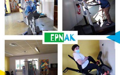 Les résidents du Foyer EPNAK Les Courlis à la salle de sport…